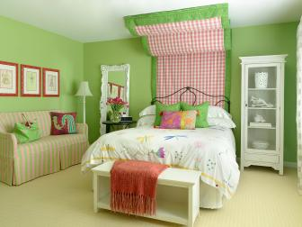 Teen Girl's Green Eclectic Bedroom With Fabric Headboard