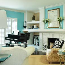 Aqua Transitional Living Room With Piano