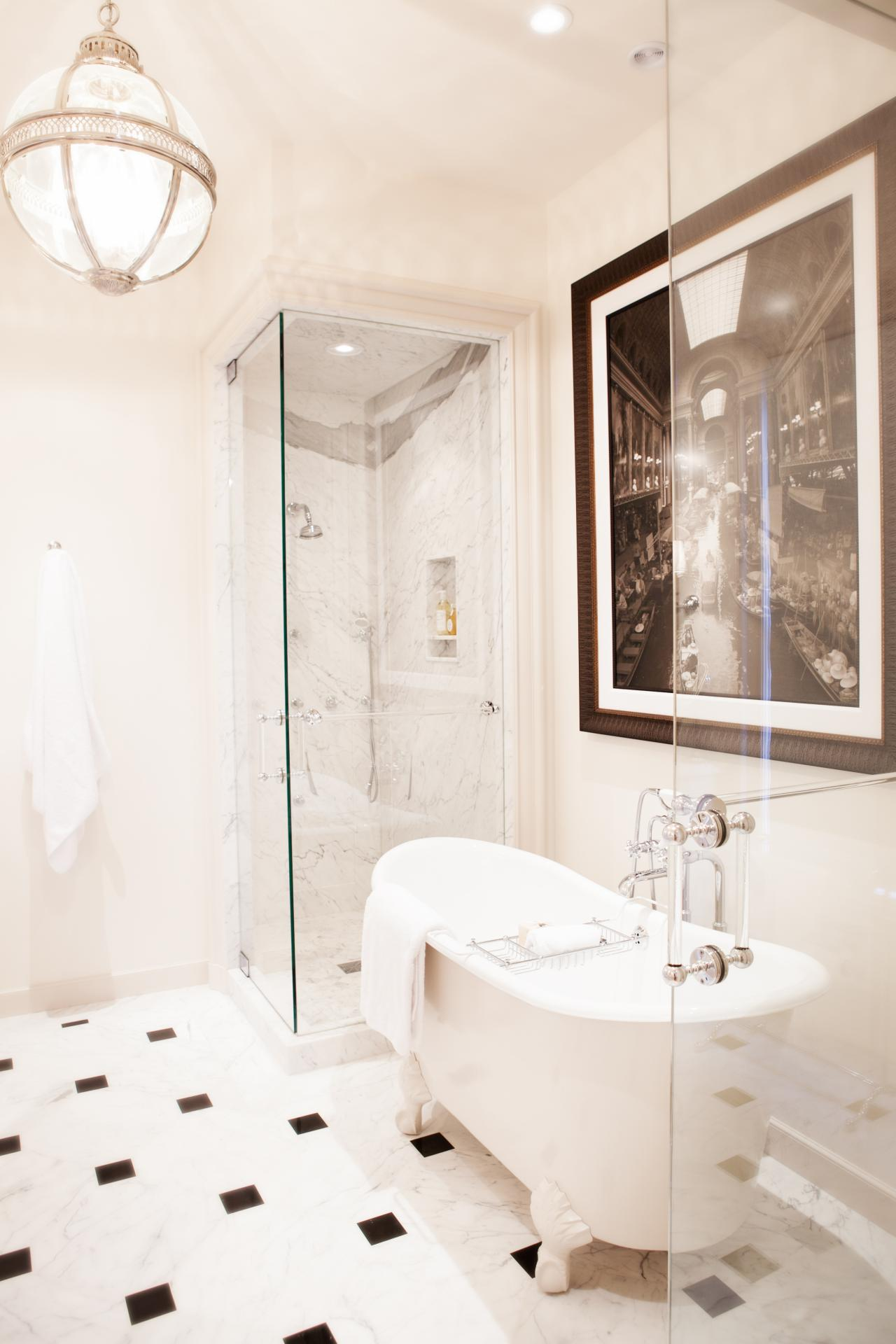 white traditional bathroom with glass walk in shower a dated bathroom