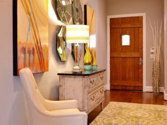 Eclectic Entryway With Wooden Front Door