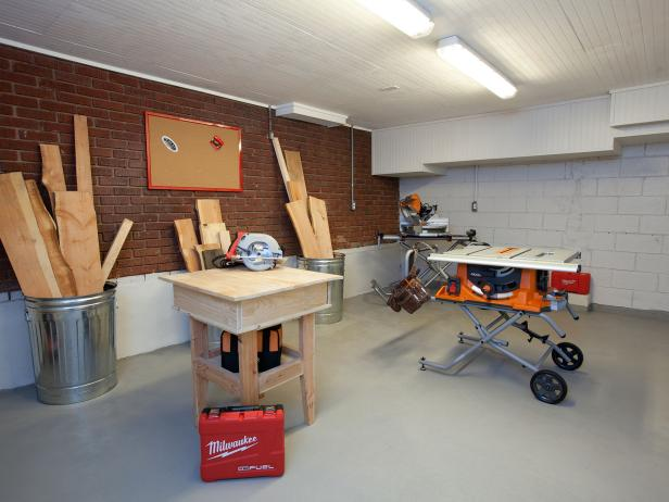 Garage Workshop With Beadboard Ceiling