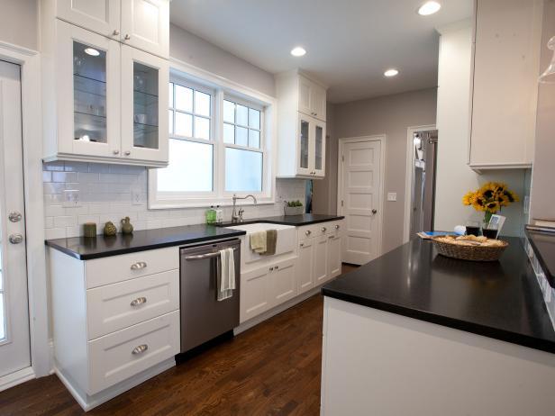 White transitional galley kitchen photos hgtv - Hgtv small kitchen makeovers ...