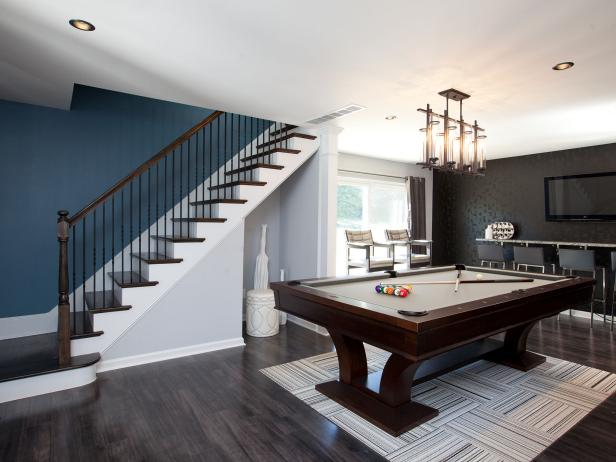Contemporary Poolhouse Game Room