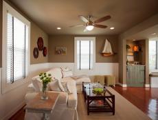 Coastal Great Room With Beadboard Wainscoting