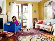 Tanika Ray in Yellow Living Room