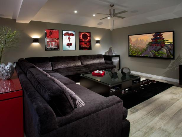 Contemporary Gray Media Room