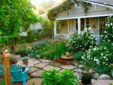 Cottage Garden With Flagstone Walkway