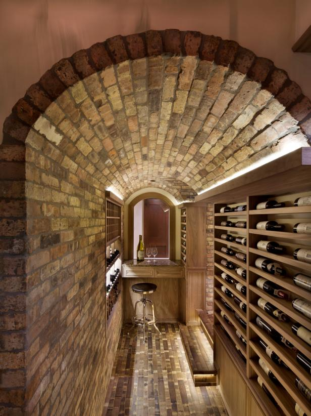 Arched Brick Hallway Entrance to Wine Cellar