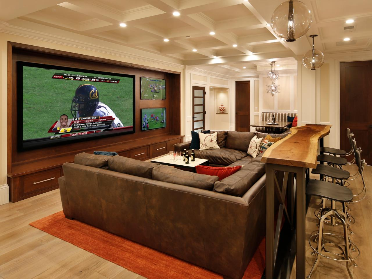 From basement to party central family hub leslie lamarre for Family game room ideas