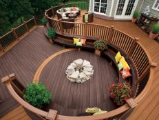 Custom Curved Deck With Bench Seating