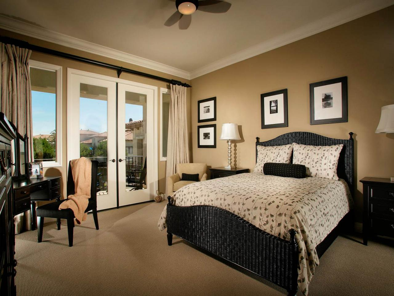 Beige and black bedroom