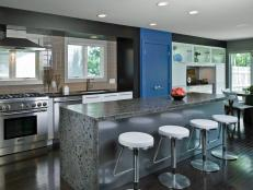Black Contemporary Galley Kitchen With Stone Island