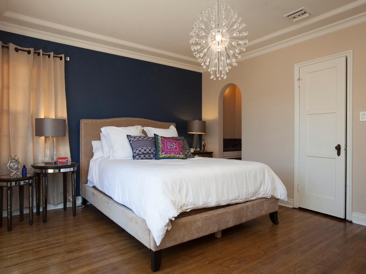 accent wall in contemporary neutral bedroom a navy blue accent walls