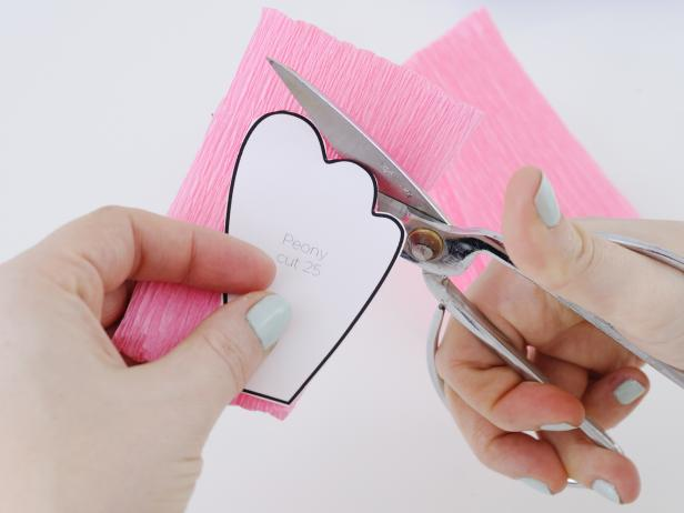 Cut a strip of 4-inch wide crepe paper and fold into a 4x4-inch squares. Lay the peony petal template onto the crepe paper folds, making sure the grain of the crepe paper is running vertically on the petal. Cut out 25 petals .