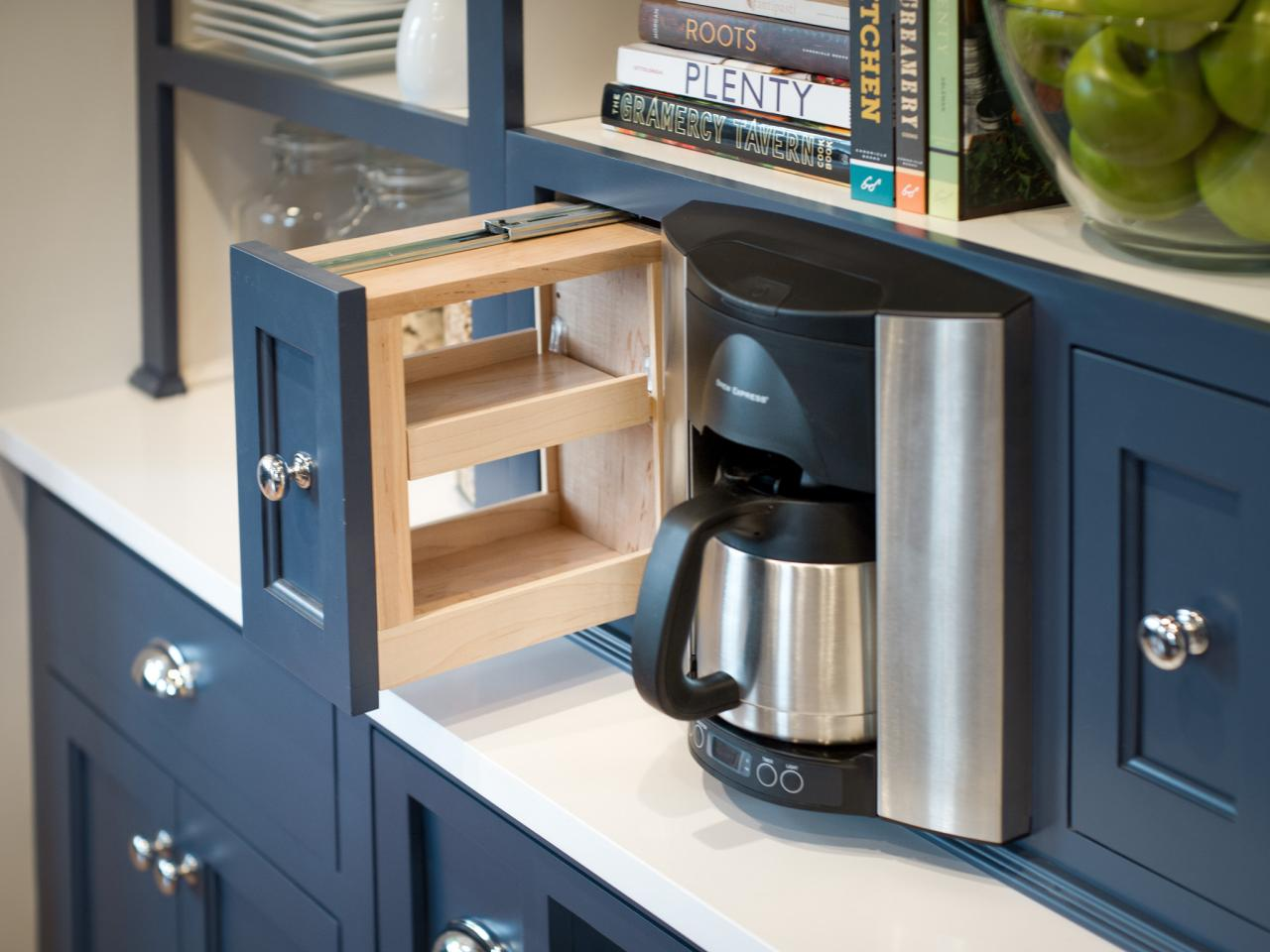 Photos hgtv for Kitchen coffee bar cabinets