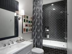 Black and White Modern Bathroom With Chevron-Stripe Shower Curtain