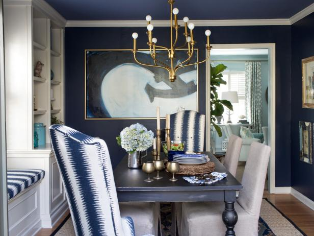 Contemporary Navy and Brass Dining Room - HGTV Photo Library