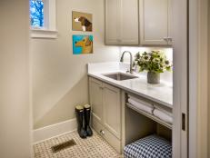 Neutral Laundry Room With Dog Art