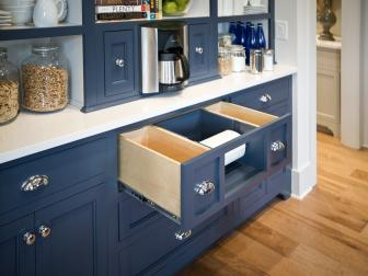 Blue Built-In Kitchen Cabinet