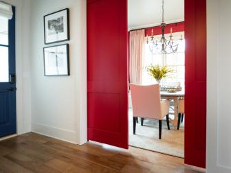 Red Transitional Dining Room with Sliding Doors