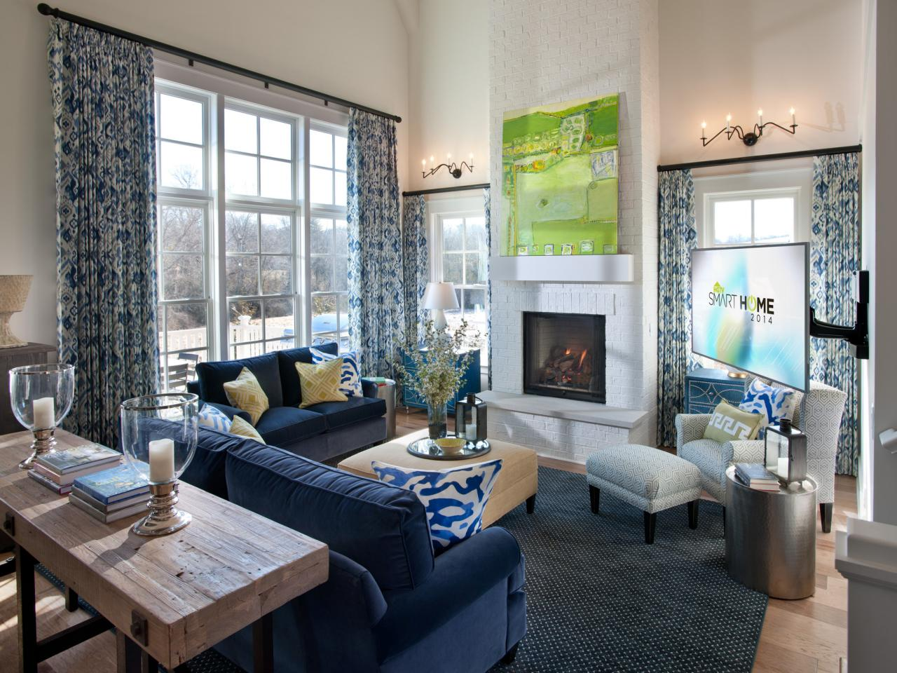2014 hgtv smart home great room the large wall of windows in this great room washes the main. Black Bedroom Furniture Sets. Home Design Ideas