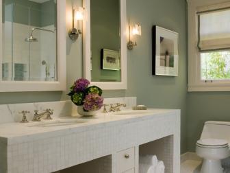 Sophisticated Green Double-Vanity Bathroom
