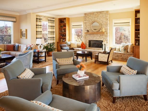 Spacious Transitional Family Room With Plentiful Seating