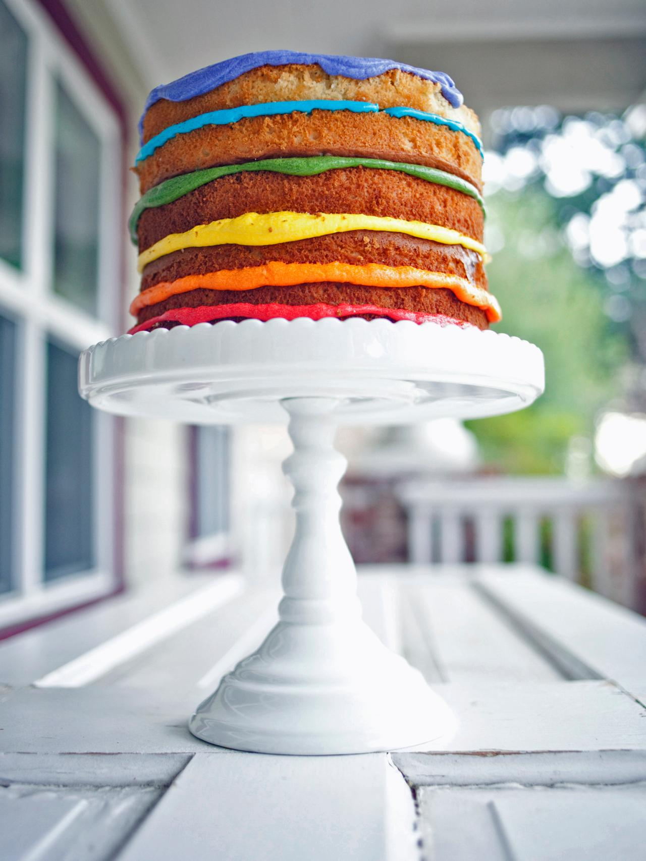 Naked Rainbow Layer Cake Recipe Hgtv