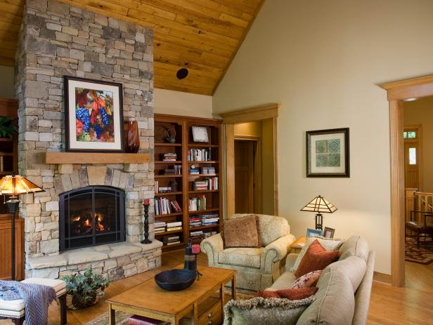 Neutral Craftsman-Style Family Room With Stone Fireplace