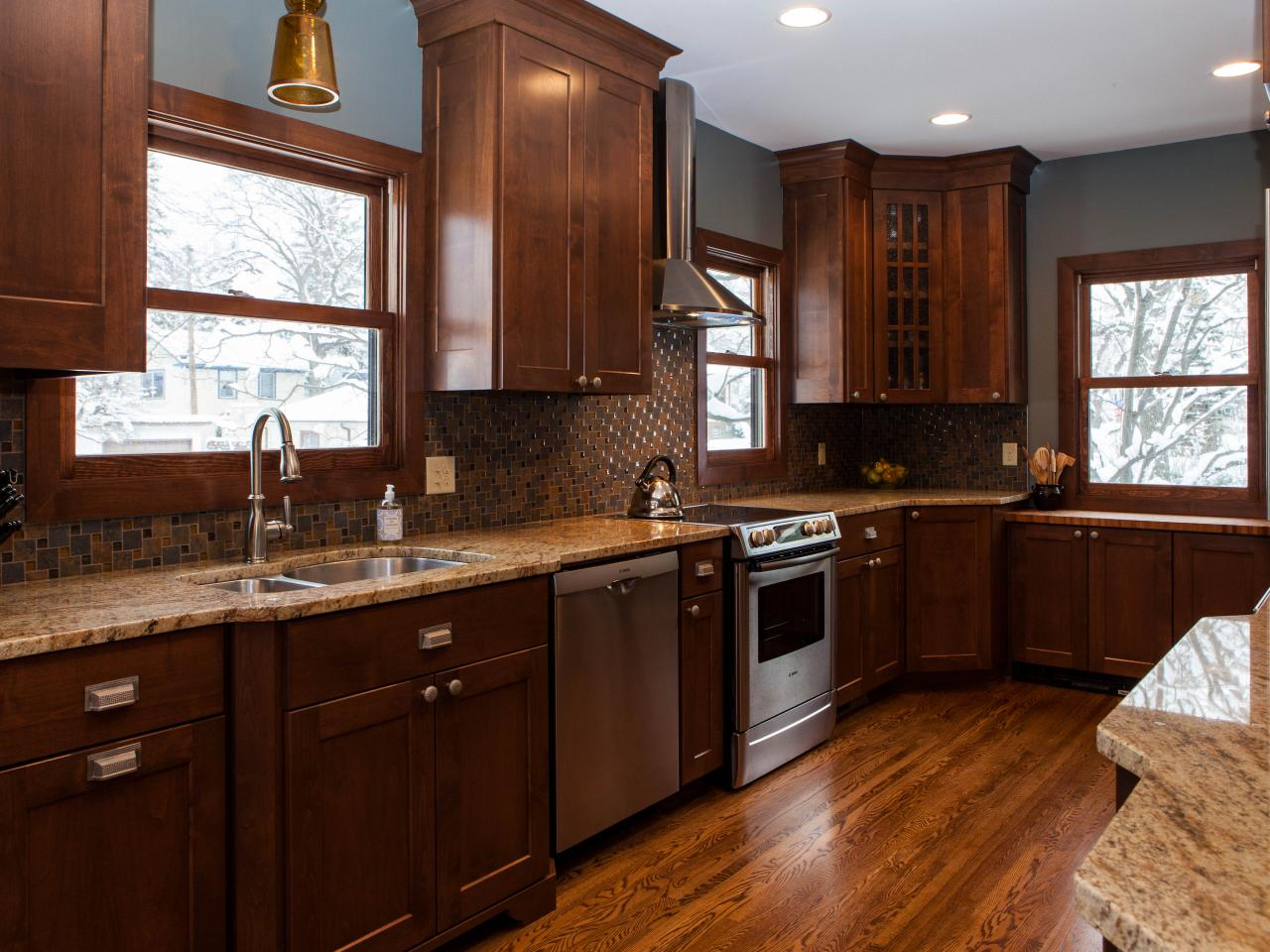 craftsman kitchen with dark wood cabinetry the subtle use of finishes