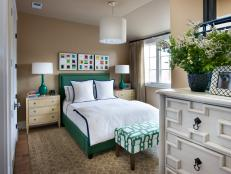 Guest Bedroom With Pops of Geometric Pattern