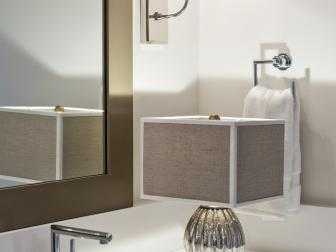 Metallic Lamp Lighting in Contemporary Master Bathroom