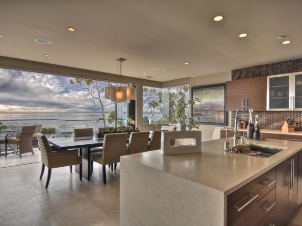 Open Kitchen with Neutral Finishes and Seascape View