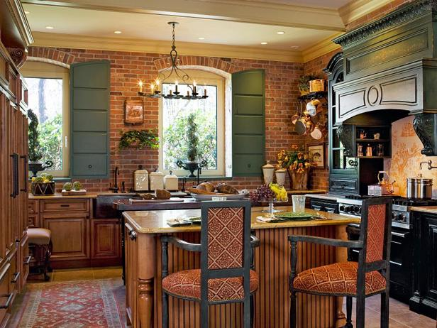 French Country Kitchen With Exposed Brick Wall Hgtv