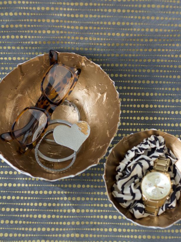 Gold Paper Mache Bowls