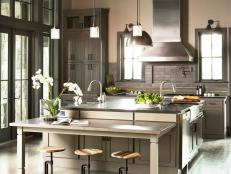Gray Transitional Chef Kitchen