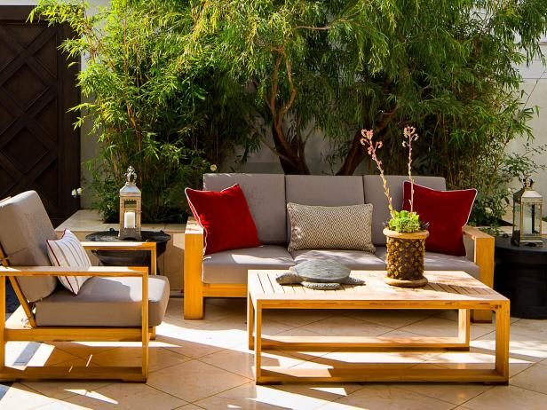 Mediterranean Patio with Teak Furniture
