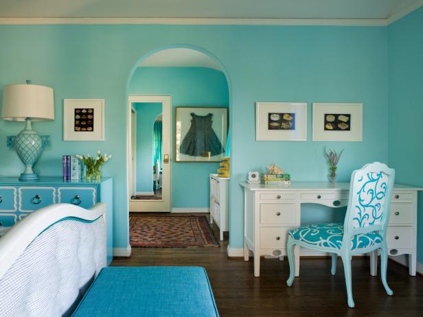 Girl's Transitional Blue Bedroom