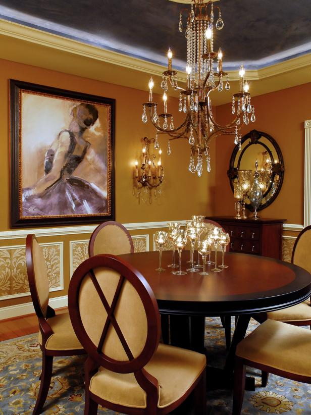 Brown Dining Room with Chandelier, Art Painting and Circular Table