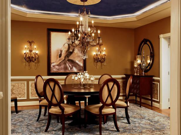 Feminine Dining Room With Chandelier Lighting