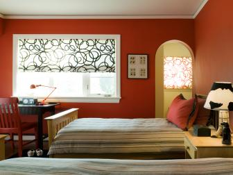 Red Kid's Bedroom With Striped Twin Beds
