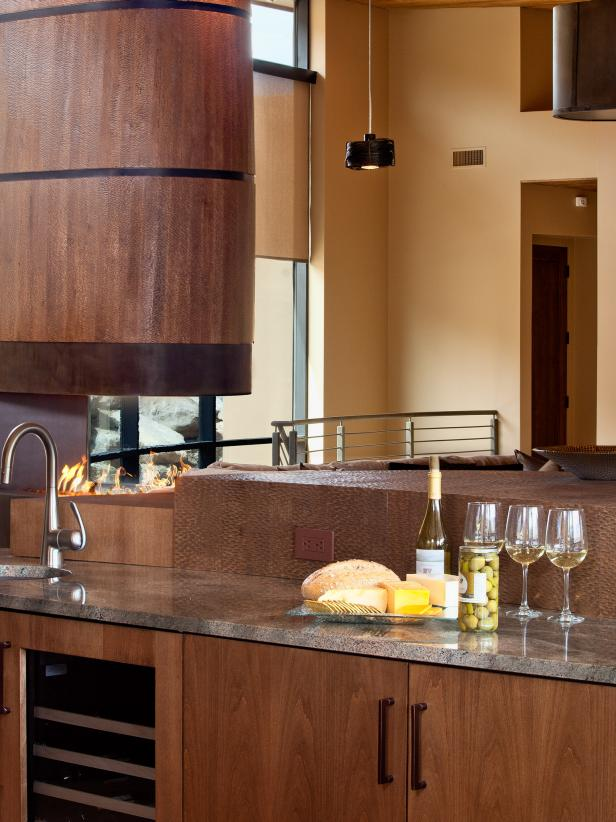 Sleek Wet Bar With Wood Cabinets in a Contemporary Kitchen