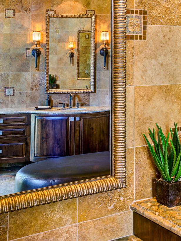 Neutral Southwestern Bathroom With Travertine Tile Walls