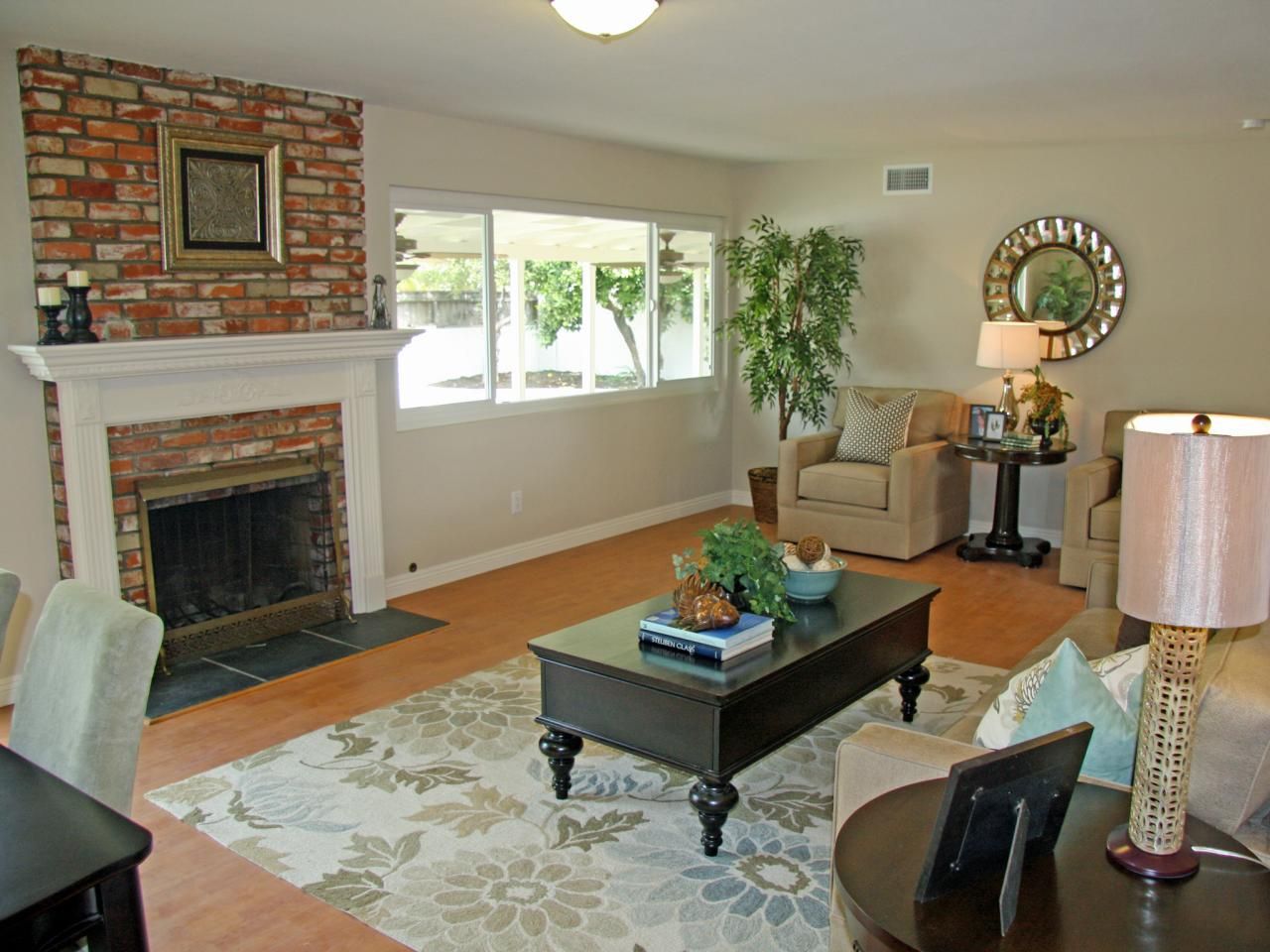 perfect living room with red brick fireplace tail blog the great