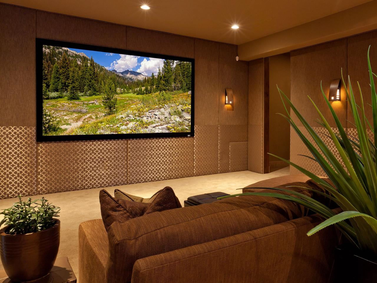 Brown And Gold Contemporary Media Room Is Stylish Cozy Hgtv