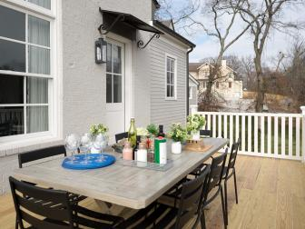Backyard Deck With Weathered Gray Dining Table