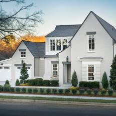 Gray Tudor Home Exterior