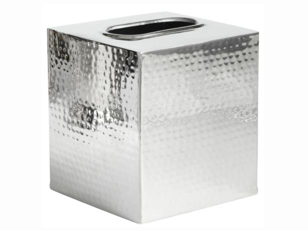 Hammered Stainless Steel Tissue Box Cover