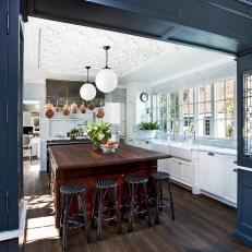 White Kitchen With Navy Blue Display Cases