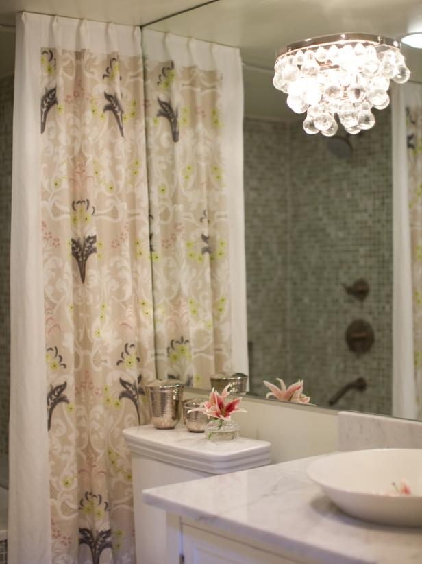 Contemporary Bathroom With Floral Shower Curtain and Teardrop Sconce